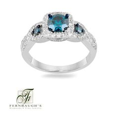 14K White Gold Ring w/ Blue Diamonds (10I)