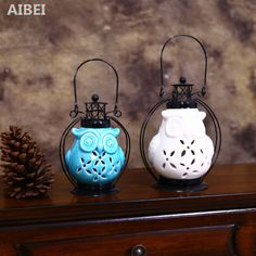 AIBEI Ceramic Owl hollow out Candle Holders Modern White/Blue Lantern Wrought Iron Candlestick Home Decor-in Candle Holders from Home & Garden on Aliexpress.com | Alibaba Group