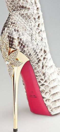 Massimo Dogana Bejeweled Snakeskin Gold Stiletto Heel Booties #Shoes #Luxury #High #Fashion