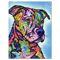 Pitbull Wall Art colorful pitbull metal wall art picture it on canvas… | wall art