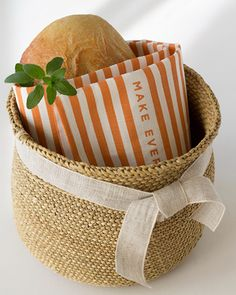 inspiration from studiopatro: wrap fresh baked bread in a tea towel for a thankful gift.
