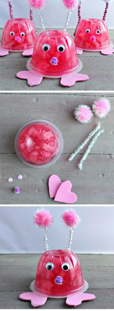 Valentines Crafts for Kids to Make – Simply Kinder Valentines Crafts for Kids to Make Love Bug Fruit Cups Toddler Valentine Crafts, Kinder Valentines, Valentines Day Activities, Valentines Day Party, Valentine Day Crafts, Toddler Crafts, Valentine Ideas, Valentines Day Crafts For Preschoolers, Valentinstag Party