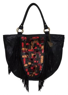 Black Fringed Leather Handbag - Lapwing Leathers.  Glam, colors and fringes makes this tote the perfect combination. Free Shipping on U.S. orders. No Risk Money Back. Shop Today!