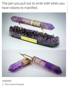 Amethyst Fountain Pen Partnership with ST Dupont Paris - so pretty, but it looks uncomfortable to use Stylo Art, St Dupont, Take My Money, Writing Instruments, Inventions, Creations, Geek Stuff, Krystal, Ink