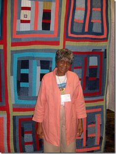 Lucy Mingo of Gees Bend with one of her graphic quilts. This woman is a Picasso of quilting, like some of the other women in Gees Bend. It's like a fountain of genius in that town.