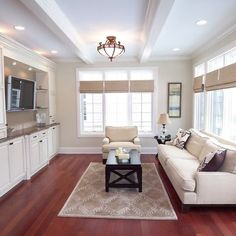 Living cherry wood floor Design Ideas, Pictures, Remodel and Decor