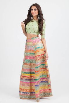 This vibrant lengha features pastel panels with gota work throughout. Pistachio silk blouse with mirror embroidery and sheer dupatta complete the look. India Fashion, Asian Fashion, Look Fashion, Fashion Spring, Patiala Salwar, Anarkali, Saree, Sharara, Lehenga Choli