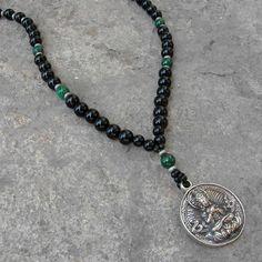 Buddha, Genuine onyx malachite gemstone necklace with Buddha pendant