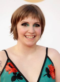 Short fringy bob for a round face  --- (Lena Dunham)