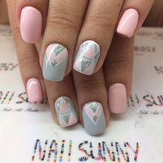 Another Pastel Colored Geometric Nail Art. This pastel nail art design is meant to add freshness and colors to your summer fun.
