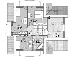 Rzut poddasza projektu Juliusz Mały Floor Plans, Houses, Floor Plan Drawing, House Floor Plans