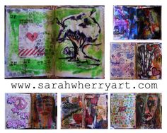 So art journal pages are personal, they don't always have to be neat and tidy. Let them be messy, let them express your personality. They're for you after all. ♥ LOVE @sarahwherryartist on Instagram #art #journal #artjournal
