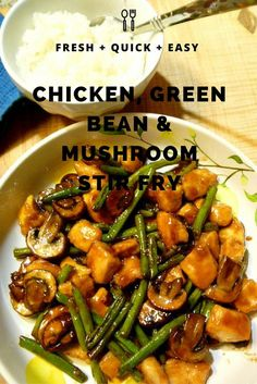 Chicken, Green Bean & Mushroom Stir Fry - a 16 minute meal! Forget the take out, this is BETTER! Slice of Southern recipes for two recipes fry recipes Turkey Recipes, Chicken Recipes, Dinner Recipes, Chicken Mushroom Recipes, Asian Recipes, Healthy Recipes, Chinese Food Recipes, Chicken Green Beans, Chicken Mushrooms