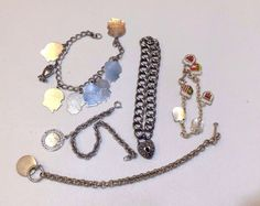 Vintage (Lot of 4) Sterling Silver Charm Bracelet & Charm Lot.+1 Extra/ 87 Grams #Traditional