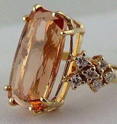 Jewelry Necklace Diy Yellow Gold Imperial Topaz Ring with Diamonds - Vintage. Topaz Jewelry, Gold Jewelry, Jewelry Accessories, Jewelry Design, Jewellery, Topaz Earrings, Antique Jewelry, Vintage Jewelry, Imperial Topaz