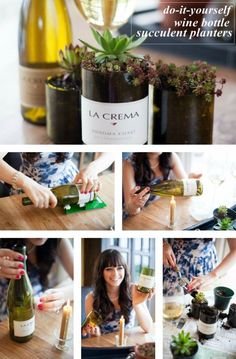 Wine Bottle DIY Crafts - DIY Wine Bottle Succulent Planters  - Projects for Lights, Decoration, Gift Ideas, Wedding, Christmas. Easy Cut Glass Ideas for Home Decor on Pinterest http://diyjoy.com/wine-bottle-crafts