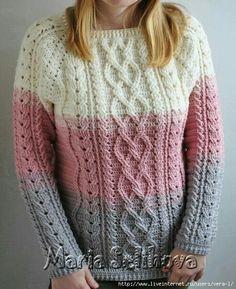 33 knitted pullovers for women and children, Knitting for children // Данута Жибуль Crochet Jumper, Crochet Vest Pattern, Crochet Cable, Crochet Skirts, Crochet Jacket, Crochet Blouse, Sweater Knitting Patterns, Crochet Clothes, Crochet Quilt