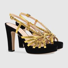 70561f3eb12a Gucci Velvet and leather sandal with crystals Detail 3 J Shoes
