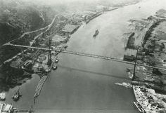 1935, Portland, aerial-view-of-ships-arriving-for-the-rose-festival-near-the-st-johns-bridge