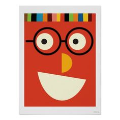 Big red smiling face with glasses