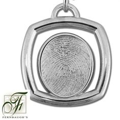 Sterling Silver Square, or 14K White Gold - 17mm Fingerprint - (Sterling Silver includes chain, 14K White gold does not include chain) $249.99 Fingerprint Jewelry, White Gold, Sterling Silver, Chain, Prints, Yellow, Printmaking, Chain Drive, Gold
