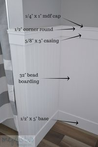 How to DIY Beadboard Paneling in 5 easy steps - Looking to add some character to your home? This post explains how you can, with this beautiful bea - Bathroom Renovations, Home Renovation, Home Remodeling, Bathroom Makeovers, Remodel Bathroom, Beadboard Wainscoting, Bathroom With Wainscotting, Bathroom Paneling, Craftsman Bathroom
