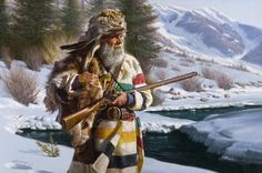 """LONE TRAPPER"" by Alfredo RodrIguez. A bearded, grizzled old mountain man is an invention of writers and popular culture. Most mountain men during the days of the Rocky Mt. Fur Trade, 1824-1849, were very young - between 19-23 years of age. About the oldest man in the mts during that period was David Jackson who was in his 40s. Only young men could withstand the hard year-round life in the mountains. However, I love the depiction and all of Alfredo's work."