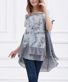 Loving this Gray Abstract Layered Hi-Low Tunic on #zulily! #zulilyfinds