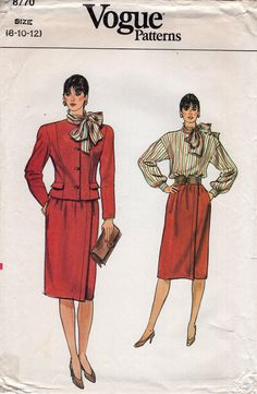 FREE US SHIP Vogue 7042 Vintage Retro 1980s 80s Suit Jacket Skirt Blouse Size 8 10 12 Bust 31 32 34 Uncut Sewing Pattern by LanetzLiving on Etsy