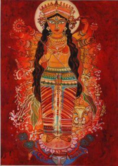 'Ma Durga' - Bageshree Datta - Tempera - x Kali Goddess, Mother Goddess, Goddess Art, Durga Kali, Shiva, Durga Painting, Spiritual Paintings, Durga Images, India Culture