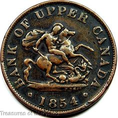 """""""St George the Dragon Slayer"""" 1854 BANK OF UPPER CANADA Halfpenny  Sku #QP11 Saint George And The Dragon, Canadian Coins, Old Money, Dragon Slayer, Coin Collecting, Saints, The Past, Canada, History"""
