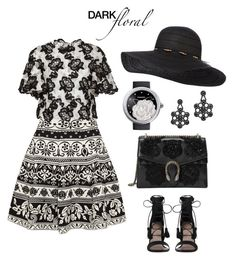 Dark floral by gracefelicia on Polyvore featuring polyvore fashion style Monique Lhuillier Alexander McQueen Zimmermann Gucci Chanel Kate Spade clothing
