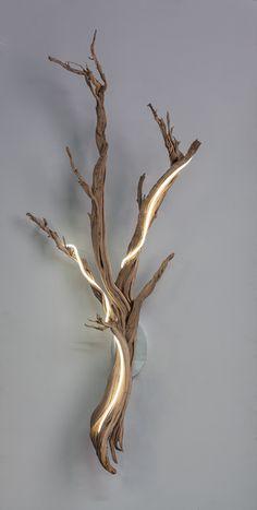 x Custom installation necessary. Driftwood Lamp, Driftwood Projects, Artistic Installation, Backyard Lighting, Wooden Lamp, Transitional Decor, Diy Home Crafts, Wood Sculpture, Light Art