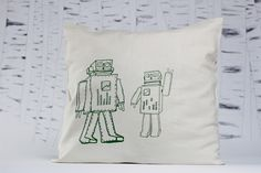 'Robot band' limited edition screen printed pillow-case by evuska Screen Printing, Robot, Pillow Cases, Reusable Tote Bags, Throw Pillows, Band, Printed, Screen Printing Press, Toss Pillows