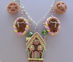 Gingerbread Christmas Necklace , Polymer Charm, House, Christmas, Clay, Xmas, House, Candy Canes, Czech Crystals , Festive. £34.99, via Etsy.