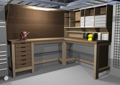 usable l shaped garage workbench and storage designs