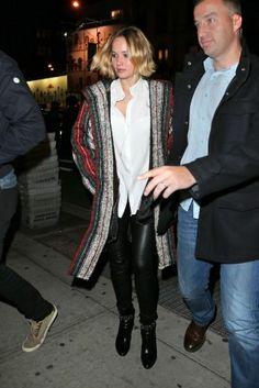 Jennifer Lawrence wearing Isabel Marant Hooded Caftan Wool Blend Coat and Saint Laurent Debbie 100 Studded Strap Ankle Boots