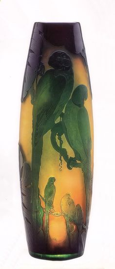 Very rare Gallé vase, only one known in this color. 60cm high.