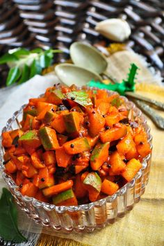 The very thought of this pickle makes my mouth water; the sour and tangy mangoes along with an exotic blend of spices that combine toget. Mango Recipes, Spicy Recipes, Indian Food Recipes, Cooking Recipes, Indian Vegetarian Dishes, Indian Dishes, Vegetarian Recipes, Indian Pickle Recipe, Pickle Mango Recipe