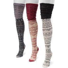 MUK LUKS Women's 3 Pair Pack Microfiber Over the Knee Socks - Walmart.com
