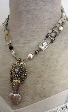 sacred heart  vintage assemblage necklace with by TheFrenchCircus, on Etsy