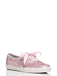 Keds for Kate Spade New York Pink Glitter Ribbon Lace Up Sneakers NIB Size 10 #katespade #Keds