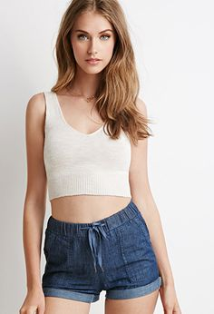 Forever 21 is the authority on fashion & the go-to retailer for the latest trends, styles & the hottest deals. Shop dresses, tops, tees, leggings & more! Boho Outfits, Cute Outfits, Yulia Rose, Cropped Tops, Cropped Sweater, Gorgeous Eyes, Sleeveless Crop Top, Short Girls, Female Models
