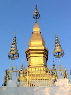 Wat Chomsy at the top of Mount Phousy in Luang Prabang, Laos.