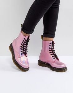 Buy Dr Martens Leather Holographic Pink Lace Up Boots at ASOS. Get the latest trends with ASOS now. Dr. Martens, Doc Martens Stiefel, Pink Doc Martens, Doc Martens Boots, Cute Shoes, Me Too Shoes, Holographic Boots, Leather Lace Up Boots, Girls Shoes
