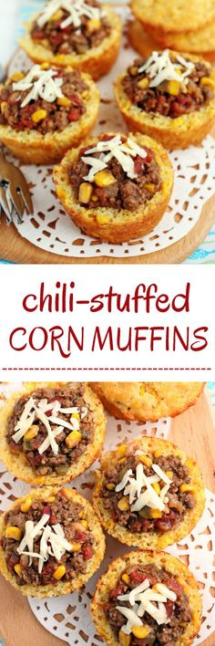 Chili night looks a whole lot better with chili-stuffed corn muffins loaded with all your favorite toppings like sour cream and shredded cheese. Creamed Beef, Corn Muffins, Cinnamon Spice, Ground Beef Recipes, Chili Recipes, Bread Baking, Meals, Dinners, Appetizers