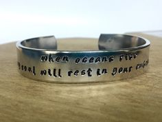 When Oceans Rise hand stamped Cuff Bracelet by BlissfulBirdDesigns