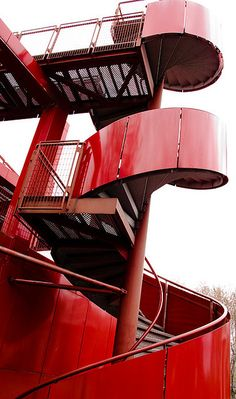 red color stairs #outside #fire #red