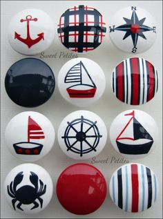 Hand Painted Knobs - Dresser Drawer - Nautical - Sailboat - Crab - Helm - Navy - Blue - Red - White via Etsy Nautical Nursery, Nautical Home, Nautical Style, Nautical Dresser, Nautical Drawers, Nautical Kitchen, Nautical Interior, Vintage Nautical, Nursery Decor