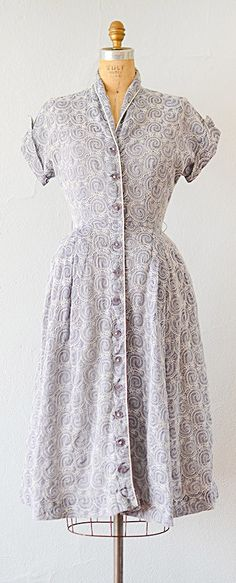 vintage 1950s dress | vintage 50s chambray embroidered shirt dress